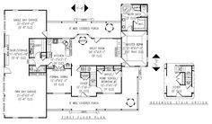 House Plan chp-27859 at COOLhouseplans.com. 2600sqft. 4 bd, 2.5 bath. Works well together. Kids all upstairs. Single garage bay separated from two car garage for my workshop. Extra storage space upstairs.