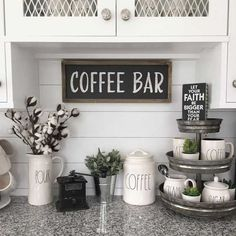 Beautiful coffee bar set up ideas on this kitchen counter. Love the Rae Dunn cof. Beautiful coffee bar set up ideas on this kitchen counter. Love the Rae Dunn coffee mugs and canisters and that organizer is a great tounch Diy Coffee Bar, Coffee Bar Home, Modern Kitchen, Stylish Kitchen, Modern Kitchen Wall Art, Bars For Home, Stylish Kitchen Decor, Declutter Kitchen, Coffee Bar Design