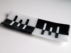 SMALL CHANNEL Black and White Channel Plate by AjMcKeeFusedGlass, $50.00