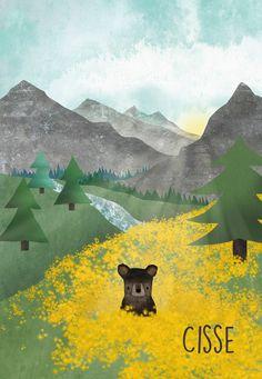 Geboortekaartje met bergen natuur beer berglandschap - Studio Voorpret