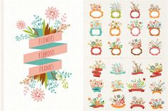 Check out Flowers with ribbons & frames by Marish on Creative Market