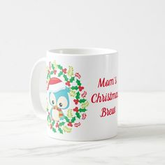 Cute Owl Christmas Wreath Personalized Coffee Mug