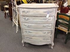 Newly Refinished Provincial Dresser - Freshly refinished French provincial dresser.  Antique white with silver pulls. Item 120-251.  Price  $230.00    - http://takeitorleaveit.co/2015/01/10/newly-refinished-provincial-dresser/