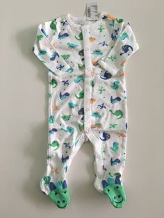 a581518e3794d NWT The Children's Place Baby Boys White Dino Print Sleep and Play size 0-3  m