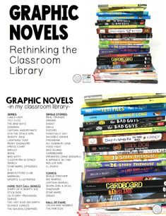 Graphic Novels, Rethinking Your Classroom Library Take an honest look at your classroom library. How many of your books never get read during the year? The percentage is pretty high. Middle School Books, Middle School Libraries, Middle School Classroom, Classroom Libraries, Classroom Ideas, Public Libraries, Classroom Door, Future Classroom, Reading Help