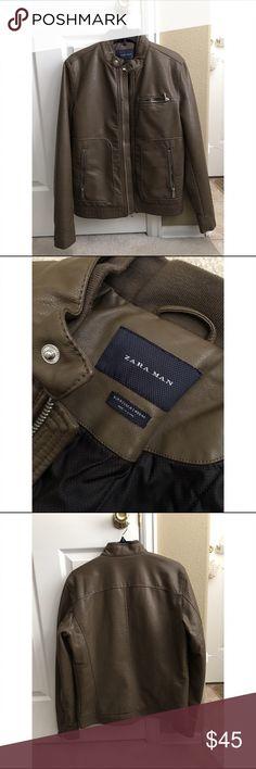 ZARA MAN Tan Faux Leather Biker Jacket Tan tailored fit jacket Zara Jackets & Coats Bomber & Varsity