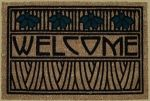 """Welcome Mat in Iris Motif $38.  Grace the entrance of your home with our beautiful Arts & Crafts welcome mat. 100% natural fiber embedded into heavy rubber backing with raised flocked design. This Iris design was inspired by the Dard Hunter 1906 design for the book Justinian and Theodora. Approximately 19""""x29""""."""
