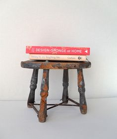 Rustic Handmade Wooden Stool by FlyingAce on Etsy $22.00 & Vintage Red Wooden Stool Rustic Distressed Rough by ivorybird ... islam-shia.org