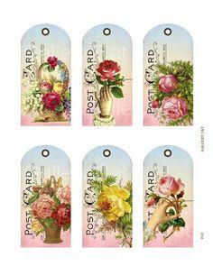 Victorian Rose Postcard Hang Tags Digital Collage di GalleryCat