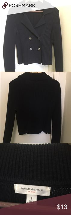 Isaac Mizrahi Sweater Cardigan The color is dark navy blue, size s but fit to m. Great condition, no pilling or stain. Second pic without flash is more true to color. Let me know if you have any questions! :) Isaac Mizrahi Sweaters Cardigans
