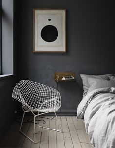 Minimalistic dark grey bedroom