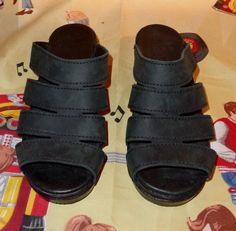 fdf91019e6594 Dansko monika womens black oiled leather slides Sandals Wedge clogs Size 37  us 6.5- 7