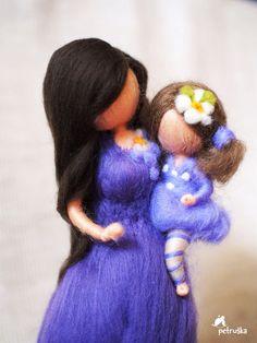 Nadel Gefilzte Waldorf inspirierte Mutter mit ihrer Tochter, Geschenk für jede Mutter, schöne Mutterschaft, figürchen, Wolle, Filz, Schmuck, Dekoration