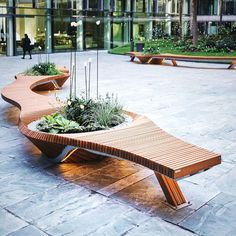Botanic Twist Bench Collection From Tf Urban - The Botanic Twist Benches Collection Is A Public Furniture Design In Stainless Steel And Acacia Wood An Eco Friendly Project Made From A Majestic Bench Nearly M Long With Two Planters Watering Sy Furniture Top View, Bench Furniture, Urban Furniture, Street Furniture, Garden Furniture, Furniture Design, Outdoor Furniture, Business Furniture, Landscape Plans