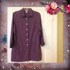 Ladies Lagenlook 100% Linen Purple Tunic Top Layering Shirt 3/4 Sleeves Size 12 #R #Tunic