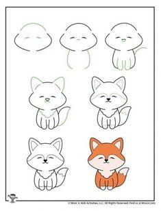 Easy Animal Drawings, Easy Doodles Drawings, Easy Doodle Art, Easy Drawings For Kids, Art Drawings Sketches Simple, Simple Doodles, Cute Doodles, Kawaii Drawings, Drawing For Kids