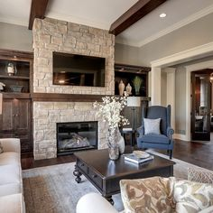 2013 Luxury Home-Inver Grove Heights - traditional - living room - minneapolis - Highmark Builders Home Fireplace, Fireplace Design, Fireplaces, Fireplace Refacing, Muebles Living, Sweet Home, Family Room Design, Luxury Interior Design, Design Interiors