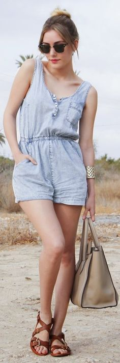 Primark Blue Vintage Denim Short Overall by Personal Style