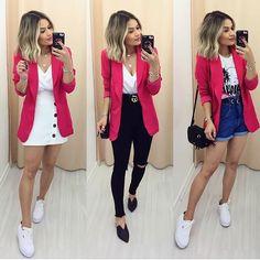 Saia branca e blazer pink calça preta e blazer pink short mom jeans e blazer pink. - Jean Shorts - Ideas of Jean Shorts Pink Blazer Outfits, Blazer Outfits Casual, Blazer Fashion, Cute Casual Outfits, Stylish Outfits, Fashion Outfits, Stylish Men, Dress Outfits, Dresses