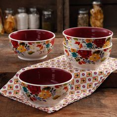 "The Pioneer Woman Timeless Floral Claret 6"" Non-Footed Bowl Set, 4-Pack - Walmart.com"