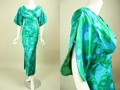 Vintage 1960s BOMBSHELL HAWAIIAN DRESS Gown Turquoise Green Teal Cotton Floral Print Made in Hawaii for The Willows