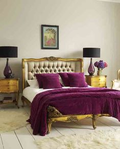 Oh yeah young & sexy....Gold end-tables, purple & black lamps, gold bed with a tan tufted headboard & purple velvet comforters & pillows. Love IT!!! Chillax....