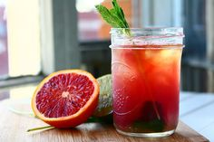 "Minty Whiskey Blood Orange Sours (""Strong enough for a man, but pink enough for a woman"") =]"
