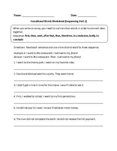 Transition Words Worksheet | Lesson Planet | Language Activities ...