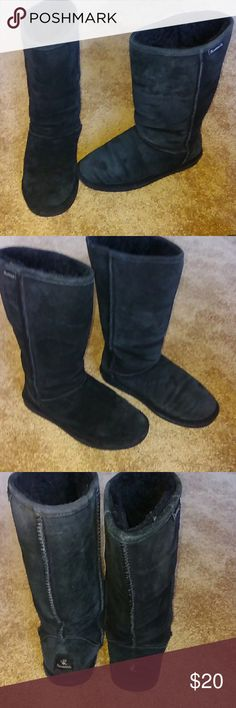Bear paw suede boots ladies sz 8.black. Bear paw black suede sz 8 ladies boots. Great condition . Lambs wool all the way to toes. Can turn down top of boot for fur trim look. BearPaw Shoes Winter & Rain Boots