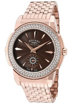Price:$299.99 #watches Rotary ELB0011-TZ2-08-16, Rotary Ladies Evolution TZ2 rose gold bracelet watch with reversible dials.