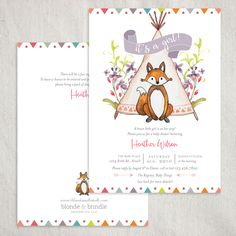 Baby fox, teepee baby shower invitation. The adventure awaits with this super adorable boho baby shower invitation! Customize the colors and wording to make this invitation unique to you!