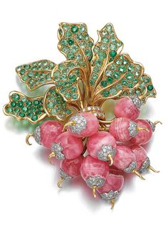 Gem set and diamond brooch, 'Botte de Radis', René Boivin, 1985 Designed as a radish bunch, composed of polished rhodochrosite, set with brilliant-cut diamonds, the leaves set with circular-cut peridots, signed René Boivin, French assay and maker's marks.