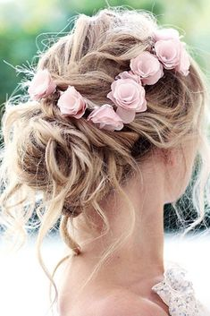 wedding hair thin wedding hairstyles for thin hair messy updo with pink flowers on blond hair the bride shop via Bride Hairstyles For Long Hair, Thin Hair Updo, Messy Updo, Wedding Hairstyles For Long Hair, Wedding Hair And Makeup, Wedding Hair Accessories, Messy Hairstyles, Summer Hairstyles, Bridal Hairstyle
