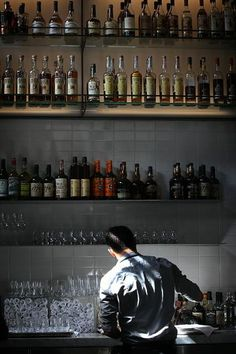 A view of the extensive liquor collection at Hard Water at Pier 3 in San Francisco, California, on September 13, 2013.