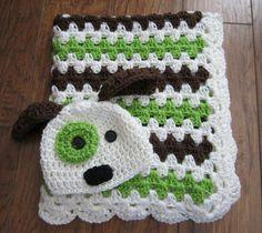 Crochet baby blanket, dog puppy hat, blanket set, gift set car seat stroller blanket, brown green and ivory, handmade, unisex, ready to ship