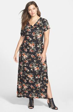 Jessica Simpson Plus Size Mollie Mesh Inset Maxi Dress Black Floral 2X/3X NEW #JessicaSimpson #Maxi #Casual