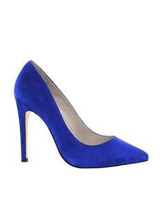 Karen Millen Blue Suede Heeled Court Shoes
