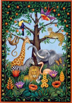 Jungle Tree of Life (Stephanie Stouffer) Art And Illustration, Illustrations, Jungle Tree, Frida Art, Haitian Art, Naive Art, Mural Art, Wildlife Art, Animal Paintings