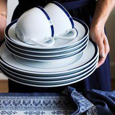 Brasserie Blue-Banded Porcelain Dinner Plates | Williams-Sonoma & Apilco Tradition Porcelain Dinnerware Place Settings | Porcelain ...