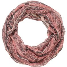 maurices Infinity Scarf In Ethnic And Floral Prints In Peach ($16) ❤ liked on Polyvore featuring accessories, scarves, sandy peach combo, floral print scarves, loop scarf, tube scarf, maurices and circle scarf