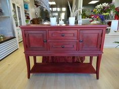 "Photo of Apple Box Boutique - ""Sideboard reimagined with Annie Sloan Chalk Paint in Emperor`s Silk and dark wax"" - Edmonton, AB Decor, Furniture, Furniture Repair, Redo Furniture, Painted Furniture, Refinishing Furniture, Chalk Paint Furniture, Red Furniture, Furniture Rehab"