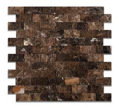 1 X 2 Emperador Dark Marble Split-Faced Mosaic Tile