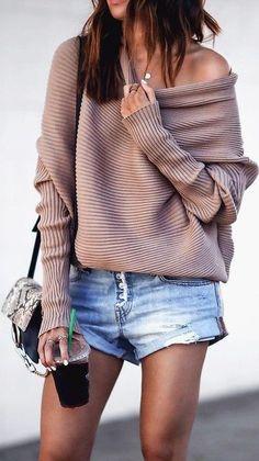 #fall #street #style | Comfy Knit + Denim Shorts