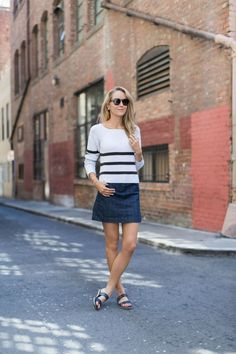 denim skirt with striped top