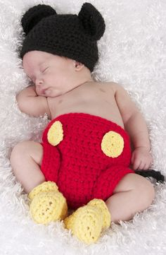 Mickey Mouse Hat and Diaper cover and Feet. $40.00, via Etsy.