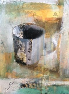 "Half a Cup-mixed media collage by Joan Fullerton Mixed Media ~ 12"" x 9"""
