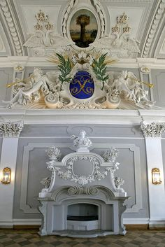 Fireplace inside Kadriorg Palace in Tallinn, Estonia...  (( Kadriorg Palace is a Petrine Baroque palace built for Catherine I of Russia by Peter the Great..The palace currently houses the Kadriorg Art Museum, a branch of the Art Museum of Estonia, displaying foreign art from the 16th to 20th centuries. ))