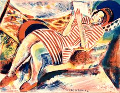 Francois Desnoyer, Femme au hamac, n.d. Color lithograph. 18 13/16 x 23 1/16 in. (47.8 x 58.6 cm). Grunwald Center for the Graphic Arts, UCLA. Gift of Dr. and Mrs. Ernest Grunwald.