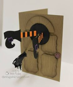 """This month the theme for our weSTAMP swap is """"Fall/Halloween/Thanksgiving"""", card or How about BOTH! Halloween Paper Crafts, Up Halloween, Halloween Cards, Halloween Coloring, Fall Cards, Holiday Cards, Kirigami, Scrapbook Cards, Scrapbooking"""