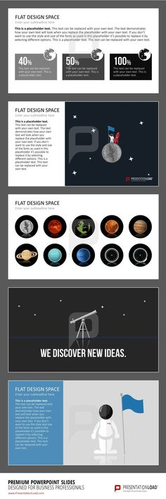 Use flat design graphics with space designs and creative graphs to present your topic.